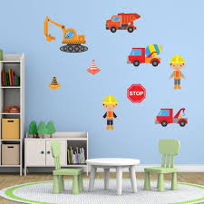 boys construction site wall stickers