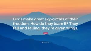"""rumi quote """"birds make great sky circles of their dom how do"""