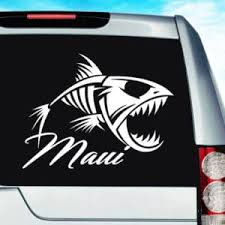 Maui Hawaii Fish Skeleton Vinyl Car Window Decal Sticker