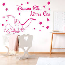 Dumbo Wall Stickers Disney Dream Big Little One Nursery Baby Vinyl Decals Stars