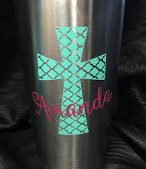 Personalized Quatrefoil Cross Decal For Yeti Cup Tumbler Coffee Mug Wine Glass Car Window Laptop Cell P Decals For Yeti Cups Cup Decal Personalized Cross