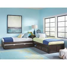 Ne Kids Pulse Chocolate L Shaped Bed With Storage Trundle Bellacor