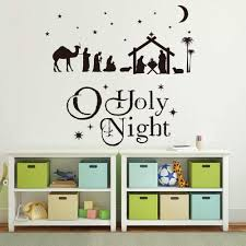 Nativity Scene Nativity Set Christmas Wall Sticker O Holy Night Nativity Silhouette Christmas Vinyl Decal Nativity Sign Vinyl Wall Stickers Aliexpress