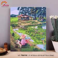 Tranh sơn dầu số hoá tự tô màu phong cảnh làng quê - Mã TQ0730 Chú bé câu  cá bên hồ sen, giá chỉ 178,000đ! Mua ngay kẻo hết!