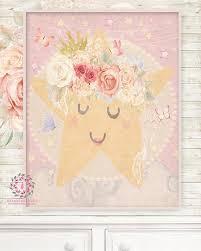 Ethereal Sleeping Star Baby Nursery Wall Art Print Boho Shabby Chic Bo Pink Forest Cafe