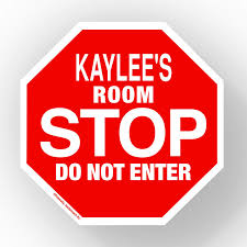 Amazon Com Kaylee Stop Its My Room Sign Official Looking 5 1 2 X 5 1 2 Personalized Name Sign Wall Hanging For Childrens Room Door Locker Office Novelty Decals Street Signs Home Kitchen