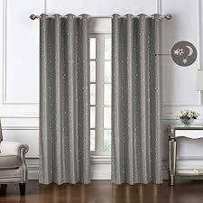 Amazon Com Wubodti Kids Room Blackout Window Curtains Set Of 2 Panels Gray Starry Thermal Insulated Room Darkening Drapes And Curtains For Boys Nursery Room Living Room Star And Moon 52 X 84