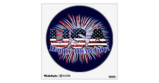 Usa Text Flag Glitters Fireworks Happy 4th Of July Wall Decal Zazzle Com
