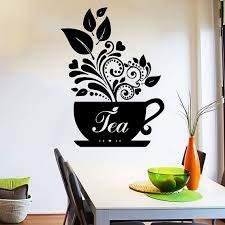 Wall Decal Tea Cup Of Tea Decals Cafe Dining Vinyl Stickers Murals Modern Interior Kitchen Coffee Decoracion Con Vinilos Pinturas En Bastidor Cafe Decoracion