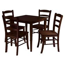 5 Piece Groveland Dining Table Set With 4 Chairs Wood Antique Walnut Winsome Target