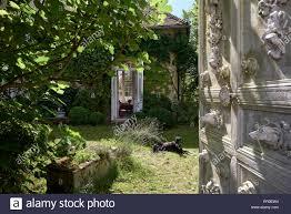 french door garden stock photos
