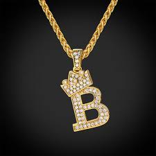crown letter b necklace wheat chain