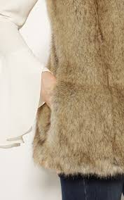neutral luxury faux fur gilet 17985