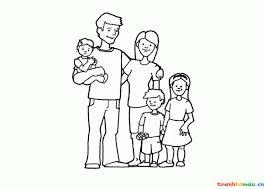 Hình tô màu 3 chị em cùng bố mẹ