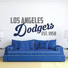 Amazon Com Enid545anne La Dodgers Wall Decal Est 1958 Baseball Decorations Sports Team Athlete Bedroom Decor Vinyl Mlb Art For Playroom Home Or Mancave Kitchen Dining