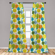 Amazon Com Ambesonne Baby Curtains Colorful Summer Trees Kids Playroom Girls Boys Childish Branches Plants Artwork Window Treatments 2 Panel Set For Living Room Bedroom Decor 56 X 95 Green Orange Home