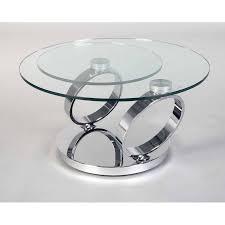 chrome and glass swivel coffee table ancona