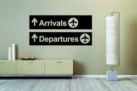 Amazon Com Airport Plane Arrivals Departures Sign Wall Vinyl Sticker Car Mural Decal Art Decor Lp5301 Handmade