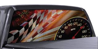 Fgd Brand Checkered Flag Speedometer Truck Rear Window Wrap Perforated Vinyl Decal Family Graphix Llc