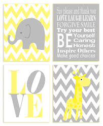 Amazon Com The Kids Room By Stupell Yellow And Grey Chevron Elephant And Giraffe Typography 4 Pc Rectangle Wall Plaque Set Proudly Made In Usa Baby