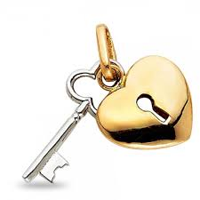 14k yellow white gold heart lock key