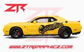 Dodge Challenger Skull Mopar Distressed Splash Side Body Decals Ztr Graphicz