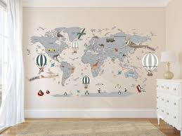 Airplane World Map Decal Clear Vinyl Decal Boys Room Decals Girls Room Decal World Map Mural Hot Air B Boys Room Decals Girls Room Decals Room Decals