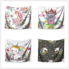 Unicorn Rainbow Castle Printed Wall Tapestry Kids Room Wall Hanging Tapestries Ebay