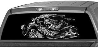 Amazon Com Motorink Grim Reaper Rider Rear Window Graphic Decal Tint Sticker Sons Of Anarchy For Truck Or Suv 22 X69 Xlarge Automotive