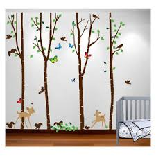 Birch Tree Forest Set With Deer Birds Animals Squirrels Baby Nursery Wall Decal Contemporary Wall Decals By Innovative Stencils