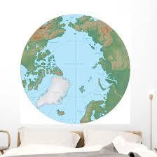 World Terrain Map Globe Wall Decal Wallmonkeys Com