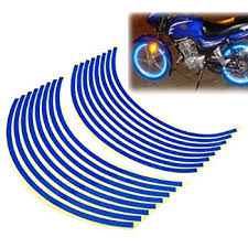Amazon Com Reflective Blue Wheel Decal Sticker Stripes Rim Tape Decals For 17 Motorcycle Or Car Wheels 16 18 Automotive