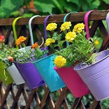 1pcs Colorful Metal Iron Hanging Flower Pot Balcony Wall Fence Plant Planter Uk 3321770184446 Ebay
