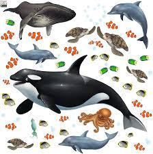 Amazon Com Create A Mural Ocean Wall Decals Undersea Wall Stickers 29 Under Water Sea Life Kids Room Decor Vinyl Art Bedrooms Baby Nursery Toddler Teen Playroom Classroom Birthday Diy Toys Games