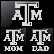 Texas A M Aggies White Decal Choose Plain Or With Mom Or Dad Ebay
