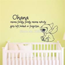 Lilo And Stitch Quote Ohana Means Family Means Cartoon Vinyl Wall Decal Sticker Art Children Bedroom Nursery Home Decor 56x100cm Home Decor Wall Decals Stickersvinyl Wall Aliexpress