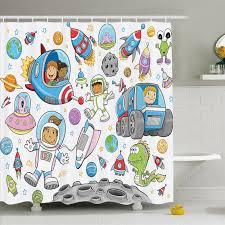 Ambesonne Outer Space Deep Space Astronaut Alien Rockets On Moon Kids Nursery Shower Curtain Set Wayfair
