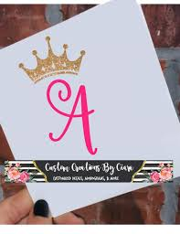 Crown Letter Decal Crown Monogram Decal Princess Decal Etsy