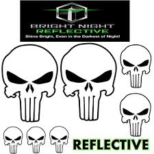 Amazon Com Punisher Skull Sticker Pack Decal Set White Reflective 2 Large Skulls 2 Medium 3 Small Skull Sticker For Car Decals Like Chris Kyle American Sniper Motorcycle Helmet Jeep Window Trucks Bicycle