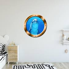 Underwater Dolphin Porthole Wall Decal Peel And Stick Mural Etsy