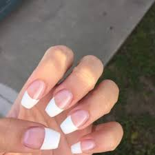white tip acrylic nails with design