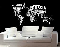 Amazon Com World Map In Country Names Vinyl Wall Decal For Living Room Decor Vinyl Wall Decals Wall Decals Modern Map