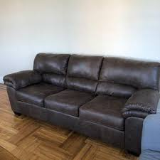 livingston leather look sofa brown