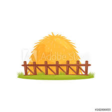 Large Pile Of Dry Hay Behind Wooden Fence Farm Theme Cartoon Vector Design For Children Book Or Mobile Game Buy This Stock Vector And Explore Similar Vectors At Adobe Stock
