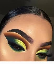 dramatic eye makeup with yellow orange