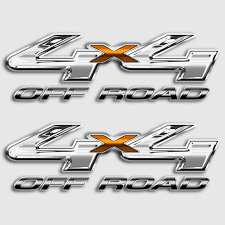 Ford F 250 4x4 Chrome Orange Off Road Truck Decal Set