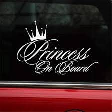 Amazon Com Hungmieh Car Stickers Decals Princess On Board For Girl Car Styling Bumper Stickers Reflective Car Body Door Window Stickers Vinyl 6 5 X 4 29 Type A Silver Automotive
