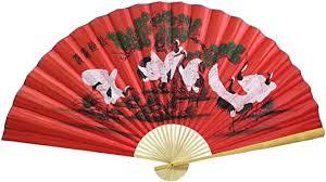 Amazon Com Oriental Feng Shui Wall Fan Asian Wall Decor 35 Large Wall Fan Japanese Cranes Red Fan Home Kitchen