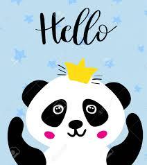 Panda Oso Panda Chino En Corona De Oro Y Texto Hola Ilustracion