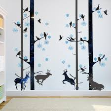 Blue Snowflakes Black Tree Trunk Wall Stickers Davids Deer Wall Mural Poster Art Living Room Background Graphic Wall Tattoo Home Decoration Wall Sticker Art Decor Wall Sticker Cheap From Magicforwall 8 05 Dhgate Com